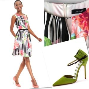 ELLEN TRACY FLORAL STRIPED PLEATED BELTED DRESS 10